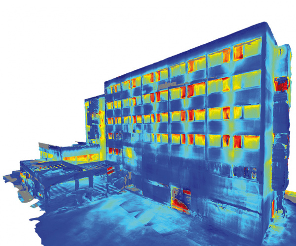 building seen through the thermal camera, the windows are shown as hot