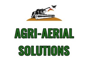 Logo of Agri Aerial Solutions, contains their name, a combine harvester and a black and white phantom drone