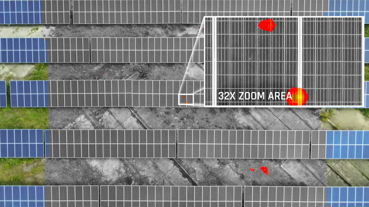Thermally inspecting solar panels with 30x zoom